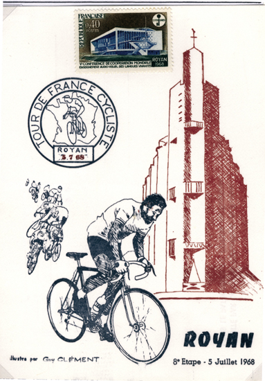 Carte postale de Guy Clement- 1968, Publicité pour le tour de France.
