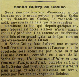Extrait de presse, Sacha Guitry à Royan